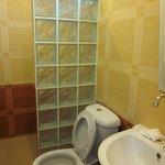 Badrummet var litet men funktionsdugligt.