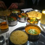 rice, chicken korma, cheese naans