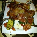 verduras a la plancha con jamón