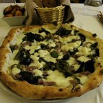 My spectacular pie with buffalo mozzarella, spinach, and sausage.