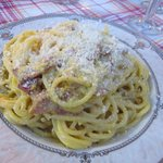 Pasta Carbonara...made with guanciale from the butcher shop next door. Delicious