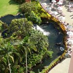View from above of the waterfall at the pool.