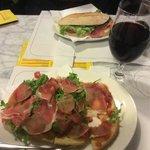Bruschette with Prosciutto Parma, ruccola and mozzarella.