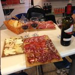 Meat, cheese, wine, and fresh bread (so amazing)