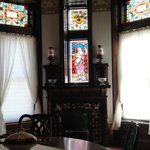Stained glass in Drawing Room.