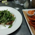 Chicken Paillard with Arugula Salad, and Crispy Sweet Potato Fries