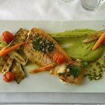 Bass filet with vegetables and pea purée