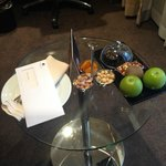 the tray of delicious treats that awaited us in our room one evening
