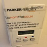 """Sign on thermostat promised """"expert"""" help - the expert who came to my room """"opened the window""""!"""