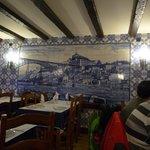 Nice tile artwork inside the restaurant of the view outside the restaurant