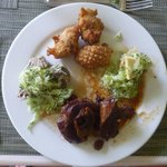 Top - Fish Cakes; Left - Souse; Right Piclkled Cucumber with Breadfruit & Banana; Botttom - Pepp