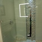 The newly renovated walk in shower