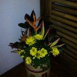 flower arrangement inside the ladies cr
