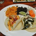 fish taco & vegetarian taco with beans & rice