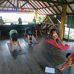 yoga class at the camp