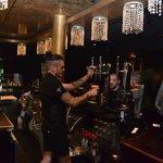 Velvet's charming barman in action