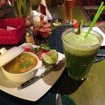 Creole soup and lemonade