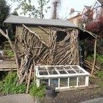 A wooden built summer house