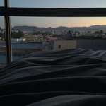 Good morning LA: view of the Hollywood Hills from our bed (eighth floor)