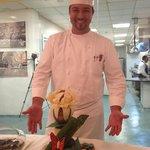 Chef Eugenio Villafana with the Chocolate display