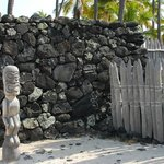 View of the stone wall around The Puuhonua