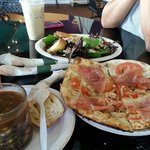 Pizza, Salad and soup of the day