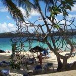 Magnifique  vue  de la plage   avec la  mer des Caraibes  aux couleurs   magnifiques ...