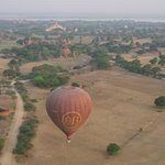 View of another balloon and the temples beyond.