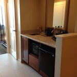 wet bar, microwave and fridge in room #1704