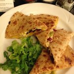delicious cranberry, pear, and chicken quesadilla room service