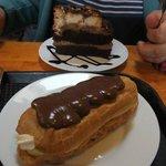 lumpy bumpy chocolate cake and a cream & custard eclair