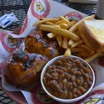Bbq chicken, fries and bean.