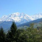 Vue sur le Mont Blanc de la terrasse.