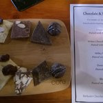 The chocolates and menu for the pairing