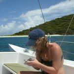 Sailing away from Buck Island