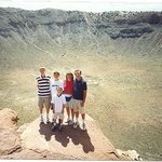Our family at the edge of that massive crater
