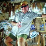 Navy Dad chilling in the tiki hut