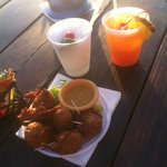 tasty drinks and fish fritters from calms cafe