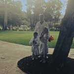 leaving the pool in our robes