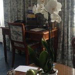 Fresh orchid in the room.