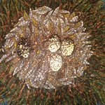 Stork egg mosaic in the lobby.