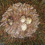 Stork egg mosaic in the lobby.