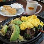 Steak, avocado, hash browns, eggs