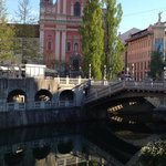 The Franciscan Church, triple bridge and Ljubljianica River