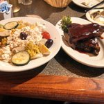 Appetizer Rib Portion and Greek Salad