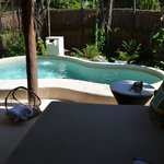 Great personal plunge pool, day bed and privacy