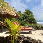 Beach chaises in front of White Cabana