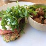 Zucchini fritters and mushroom salad