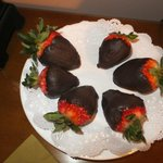 Choc covered strawberries waiting in our room