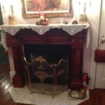 Fireplace can be lit with a remote control. Very ornate!